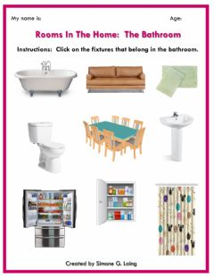 Interactive worksheet Rooms in the Home:  Bathroom