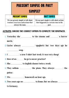 Interactive worksheet Past Simple VS Present Simple