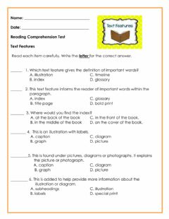 Interactive worksheet Text Features Test