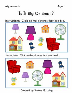 Interactive worksheet Is It Big Or Small?