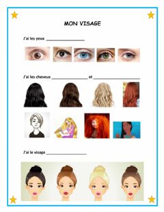 Interactive worksheet Description du visage