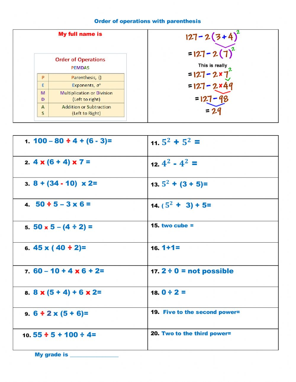Order of Operation with Exponents and Parentheses worksheet