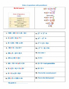 Interactive worksheet Order of Operation with Exponents and Parentheses