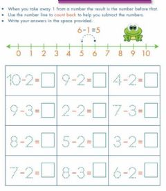 Interactive worksheet Subtraction using a number line