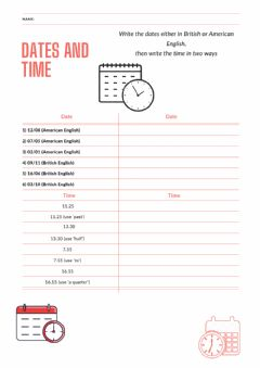 Interactive worksheet Time-date
