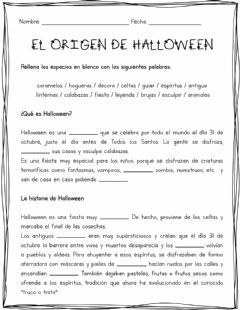 Interactive worksheet El Origen de Halloween Pt 1