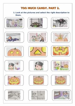 Ficha interactiva Halloween story Too Much Candy. Part 2