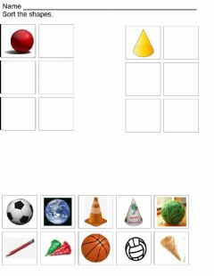 Interactive worksheet Sphere and Cone sort