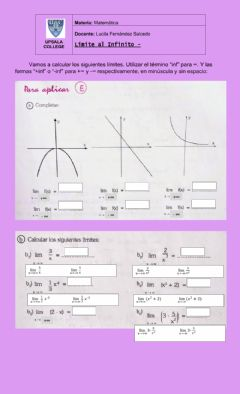 Interactive worksheet Limites infinitos