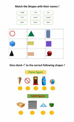 Interactive worksheet Plane and Solid Figure