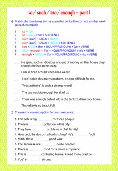 Interactive worksheet So - such - too - enough - part 1
