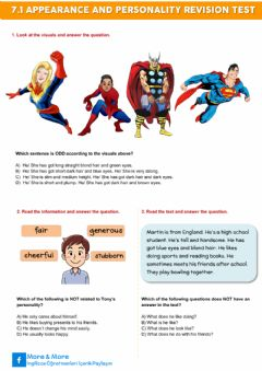 Interactive worksheet 7.1. Appearance and Personality