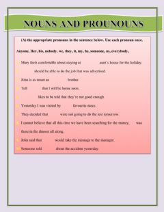 Ficha interactiva Nouns and Pronouns Worksheet