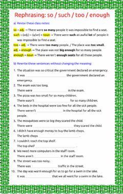 Interactive worksheet Rephrasing: so - such - too - enough - 4