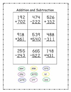 Ficha interactiva 3 digit addition and subtraction
