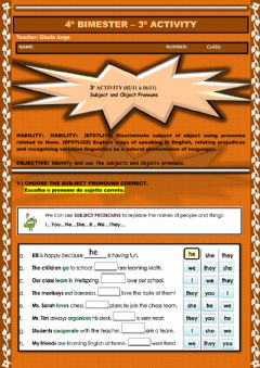 Interactive worksheet 3ª ACTIVITY (02-11 à 16-11) Subject and Object Pronouns