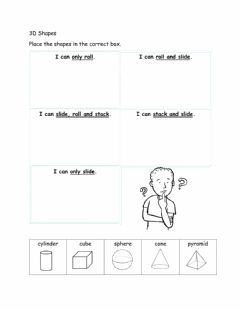 Interactive worksheet 3D Shapes-Slide, Stack or Roll