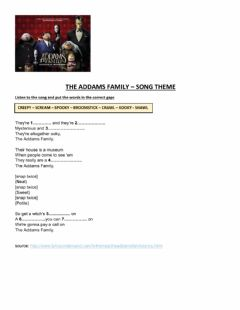 Ficha interactiva The adams family song