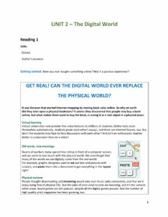 Interactive worksheet GET REAL! CAN THE DIGITAL WORLD EVER REPLACE THE PHYSICAL WORLD?