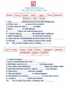 Interactive worksheet Spelling Exam