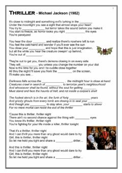 Interactive worksheet Song -Thriller