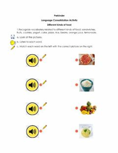 Interactive worksheet Recognize words related to different kind of food