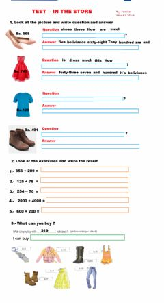 Interactive worksheet TEST -IN THE STORE