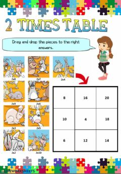 Interactive worksheet Two Times Table