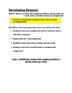Interactive worksheet Developing Reasons to Support a Claim