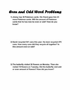 Interactive worksheet Even and Odd Word Problems