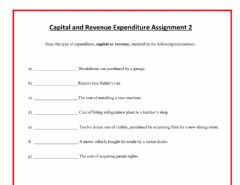 Interactive worksheet Capital and Revenue Expenditure
