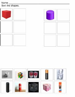 Interactive worksheet Cube and Cylinder Sort