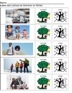 Interactive worksheet Summer and Winter Clothing