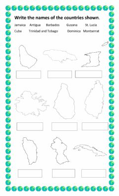 Ficha interactiva Maps of Caribbean Countries