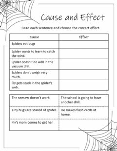 Interactive worksheet Diary of a Spider Cause and Effect