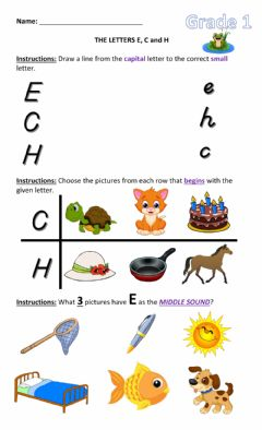 Interactive worksheet Letters E, C, and H