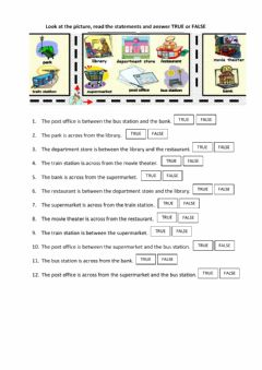 Interactive worksheet Across from and Between