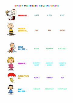 Interactive worksheet Snoopy and friends