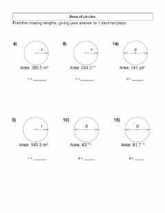 Interactive worksheet Area of Circles - Working Backwards