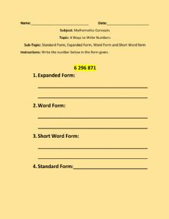 Ficha interactiva 4 Ways to Write Numbers- Standard Form, Expanded Form, Word Form and Short Word Form-