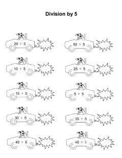 Interactive worksheet Division by 5