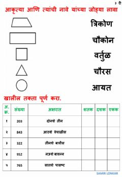 Interactive worksheet गणित ३ री