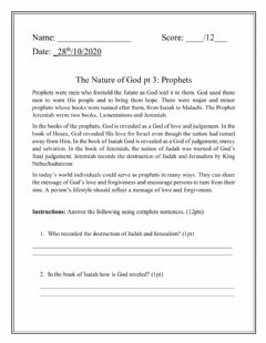 Interactive worksheet The Nature of God Pt 3