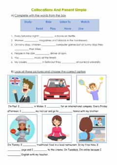 Interactive worksheet Collocations and Simple Present