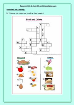 Ficha interactiva Vocabulary and Language: Food - Countable and Uncountable nouns