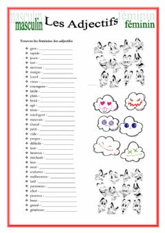 Interactive worksheet Genre de l'adjectif