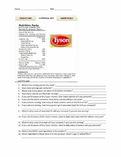 Interactive worksheet Nutrition Label Questions - Chicken Nuggets