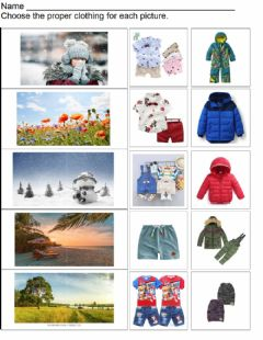 Interactive worksheet Summer or Winter Clothes