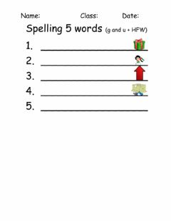 Ficha interactiva Spelling g and u and 'at' 5 words