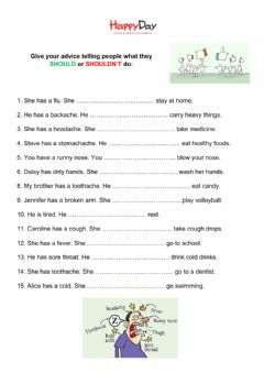 Interactive worksheet Health advice: should and shouldn-t